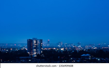 The skyline of Dar es Salaam, Tanzania, East Africa at night, with a highrise tower