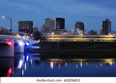 Skyline of Dayton at night. Dayton, Ohio, USA.