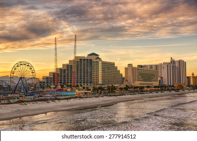 Skyline of Daytona Beach, Florida, at sunset from the fishing pier. Hdr processed.