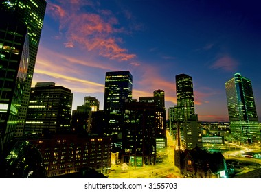 The skyline in Denver, Colorado at dusk