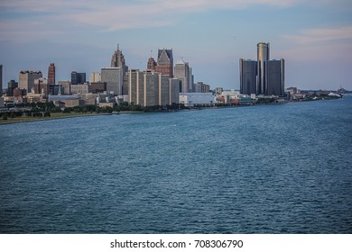 Skyline of Detroit from Canadian bridge