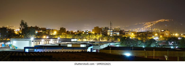 skyline of the district santa anita in lima city peru at night towards ate
