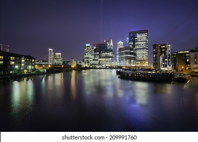 Skyline of Docklands, Canary Wharf, London, in a beautiful night