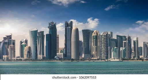 The skyline of Doha, capital of Qatar, during a sunny afternoon