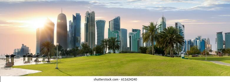 The skyline of Doha, Qatar before sunset
