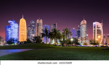The skyline of Doha, Qatar, by night seen from the Sheraton Park