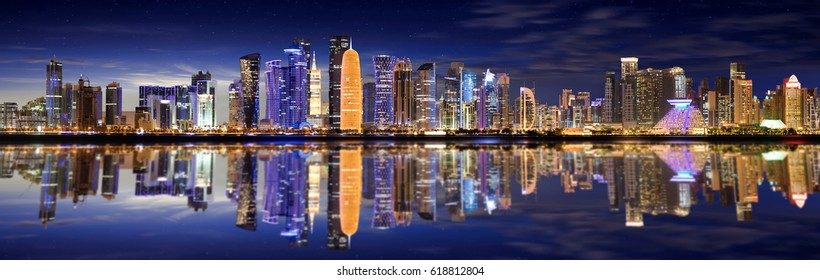 The Skyline of Doha, Qatar, by night