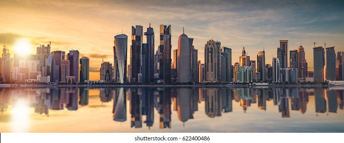 The skyline of Doha, Qatar during sunset