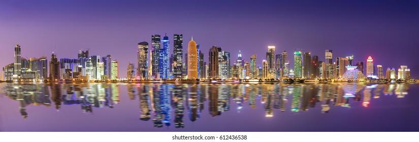 The skyline of Doha, Qatar, in the night