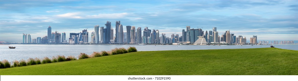 The skyline of Doha, Qatar, on a hazy spring day seen from the MIA Park