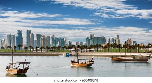 The Skyline of Doha, Qatar, on a sunny day