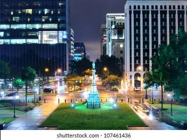 Skyline of downtown Columbia, South Carolina on Main Sreet.