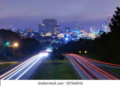 Skyline of downtown Columbia, South Carolina from above Jarvis Klapman Blvd.