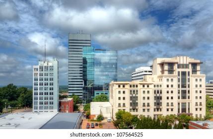 Skyline of downtown Columbia, South Carolina on Main Street.