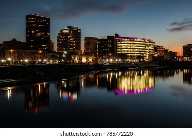Skyline of downtown Dayton, OH at night