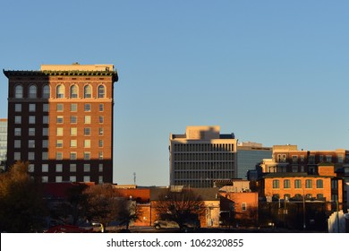 Skyline of Downtown Greenville, SC around sunset.