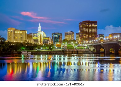 Skyline of downtown Hartford city, cityscape in Connecticut  in USA