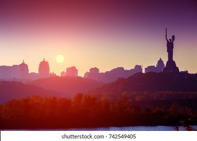 Skyline, downtown. Kiev city in the evening. Right bank The Dnieper River. Ukraine, Europe