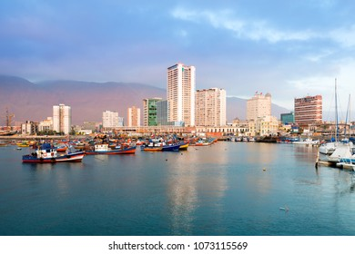 Skyline of downtown and marina of Iquique from the port, Chile