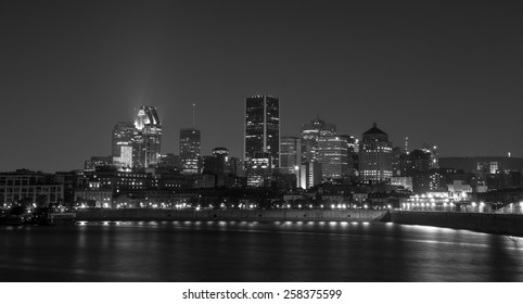 Skyline of Downtown Montreal at night view from Pierre-Dupuy Sreet B/W picture.