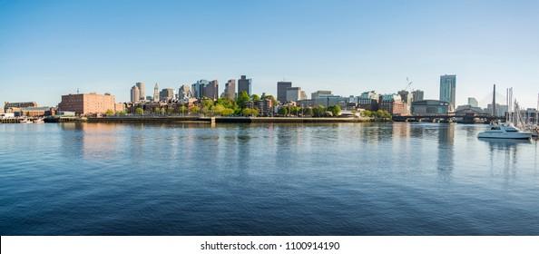 skyline downtown panorama in Boston, Massachusetts, USA
