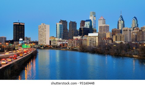 Skyline of downtown Philadelphia, Pennsylvania.