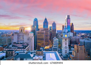 Skyline of downtown Philadelphia at sunset USA