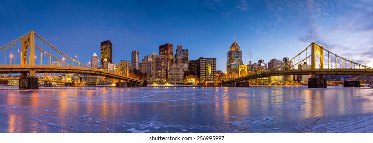 Skyline of downtown Pittsburgh at twilight