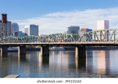 Skyline of downtown Portland Oregon with highrise buildings on the waterfront.