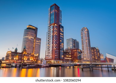 The skyline of downtown Rotterdam at night