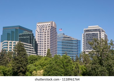 Skyline of Downtown Sacramento California on a clear blue day. Flag flying high in centre of the shot. Tall buildings towering above the tree line in the foreground.