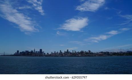 Skyline of downtown San Francisco in California from Alcatraz Island