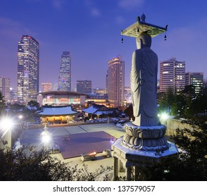Skyline of downtown Seoul, South Korea from bongeunsa temple