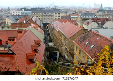 Skyline in Downtown Zagreb, Croatia on a rainy fall day. View from Strossmayer Promenade in Upper Town.