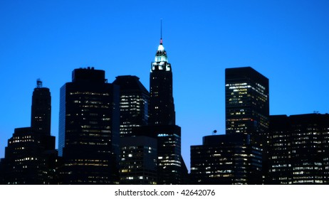 Skyline at dusk of Financial District at lower Manhattan