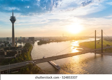 skyline of Dusseldorf in Germany during sunset