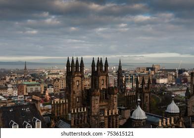 The skyline from Edinburg Castle showing the Walter Scott Monument