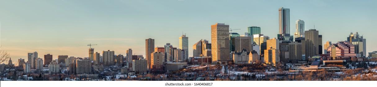 The skyline of Edmonton Alberta during sunset