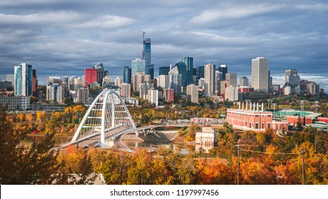 Skyline of Edmonton - capital of Alberta, the oil city, on North Saskatchewan River during colourful, vivid autumn, fall. Sunny day, panorama layout.