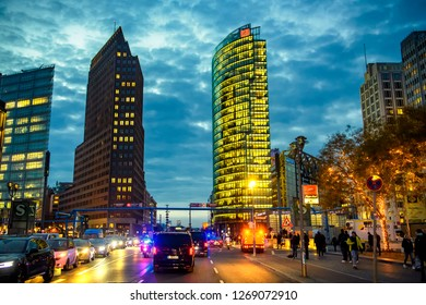 Skyline of the financial district with Potsdamer Platz in Berlin, Germany. 29-11-2018