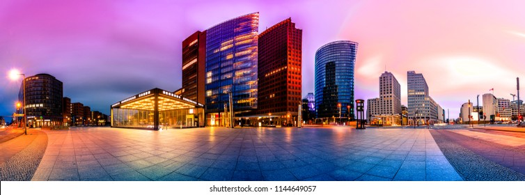 Skyline of the financial district at the Potsdammer Platz in Berlin, Germany. Panoramic montage with artistic filters applied
