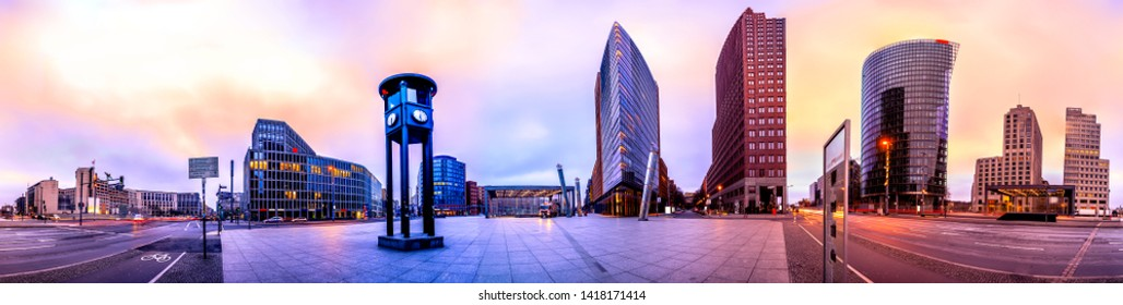 Skyline of the financial district at the Potsdammer Platz in Berlin, Germany. Panoramic montage with artistic filters applied - Shutterstock ID 1418171414