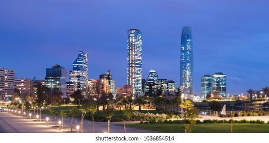 Skyline of Financial District at Providencia from Parque Bicentenario (Bicentennial Park) in Vitacura district, Santiago de Chile, South America