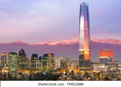 Skyline of financial district at Providencia in Santiago de Chile with The Andes mountains Range in the background