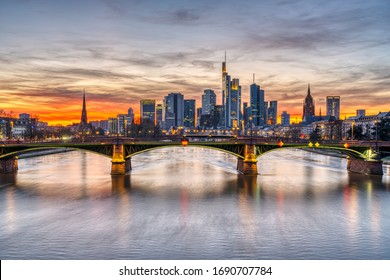 The skyline of Frankfurt in Germany after sunset
