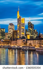 Skyline of Frankfurt, Germany at night