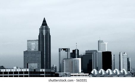 The skyline of Frankfurt, grain added