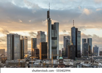 skyline of Frankfurt am Main in the evening, Germany