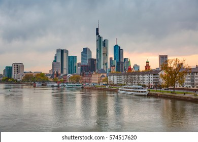 Skyline of Frankfurt am Main (Germany) at dusk