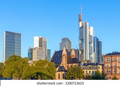 skyline of Frankfurt am Main with river main in sunrise